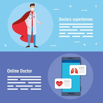 Set banner of medicine online technology