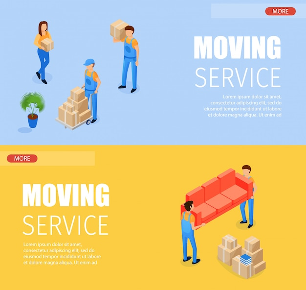 Set banner moving service vector illustration. horizontal isometric loader transports boxes