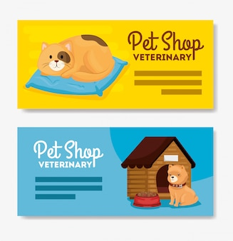 Set banner of pet shop veterinary with cat and dog