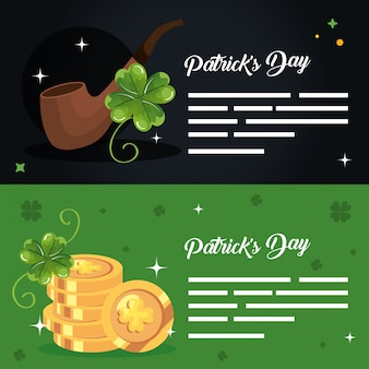 Set banner saint patrick day with decoration vector illustration