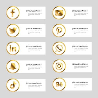 Set of banner for social media with golden icons