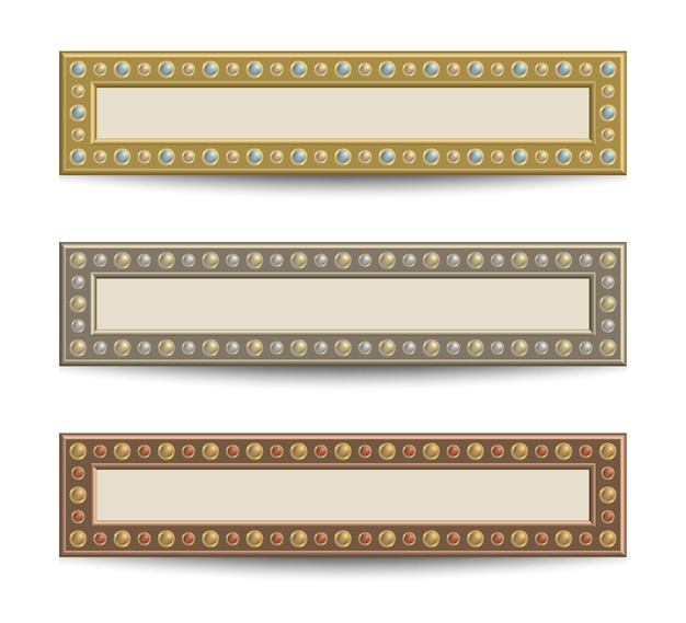 Set of banner templates with rivets on gold, silver and bronze colors.