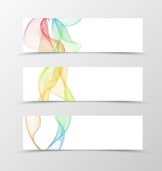 Set of banner wave design