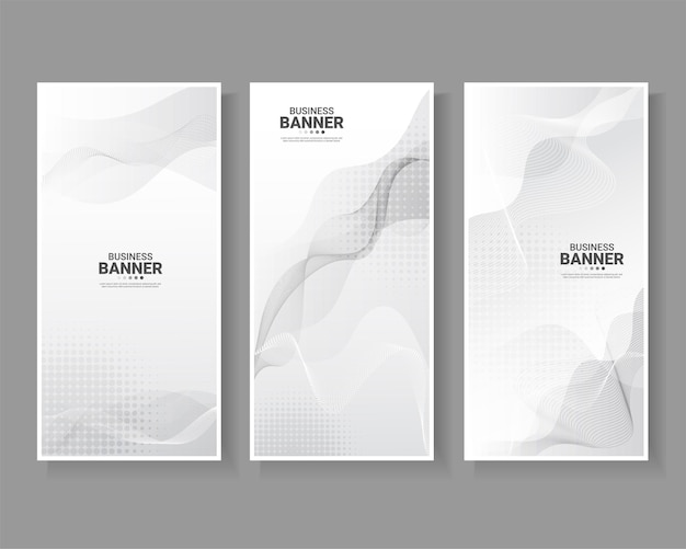 Set of banner with white abstract background.