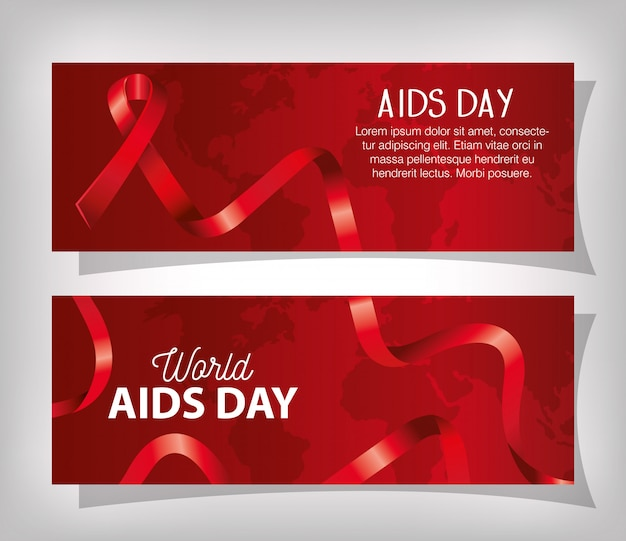 Set banner of world aids day with ribbon