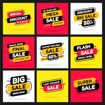 Set banners for advertising mega sale and discounts