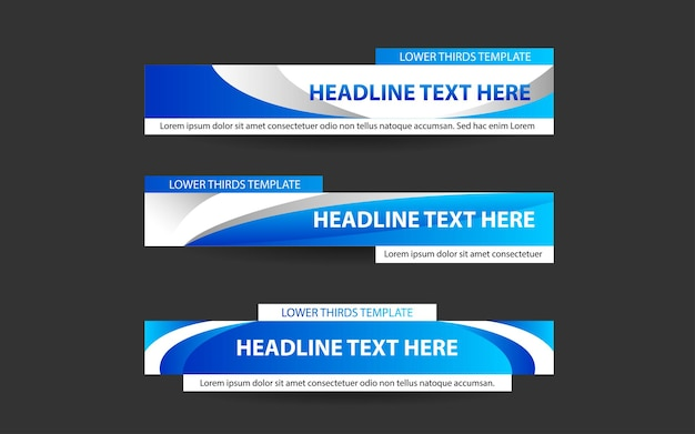 파란색과 흰색으로 뉴스 채널을위한 배너 및 하단 1/3 설정