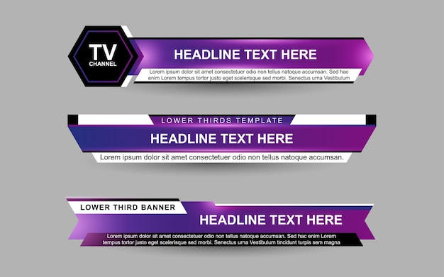 Установите баннеры и нижние трети для новостного канала фиолетовым и белым цветом