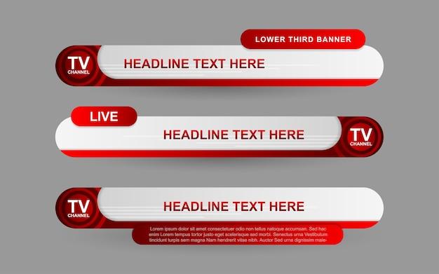 Установите баннеры и нижние трети для новостного канала красным и белым цветом