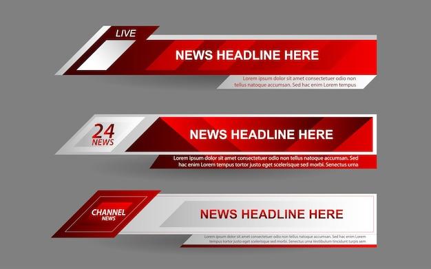 Установите баннеры и нижние трети для новостного канала с красным и белым цветом