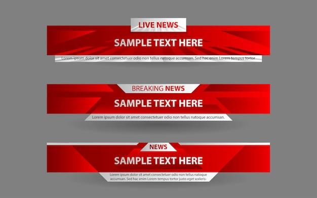 빨간색과 흰색으로 뉴스 채널의 배너 및 하단 1/3 설정