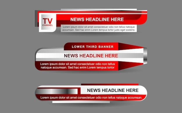 赤と白の色でニュースチャンネルのバナーとローワーサードを設定します