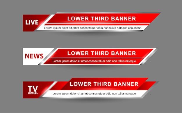 Установите баннеры и нижние трети для новостного канала с белым и красным цветом