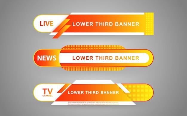 흰색과 노란색으로 뉴스 채널에 대한 배너 및 하단 1/3 설정
