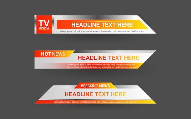 Установите баннеры и нижние трети для новостного канала с белым и желтым цветом