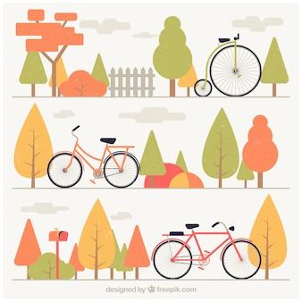 Set di banner biciclette e alberi