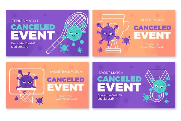 Set of banners for cancelled sporting events
