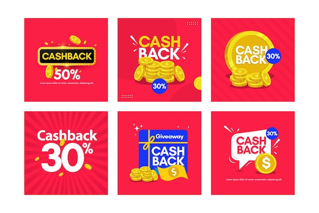 Set banners cashback design template.