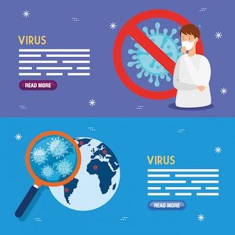 Set banners of coronavirus 2019 ncov