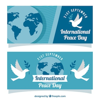 Set of banners for day of peace with dove and world