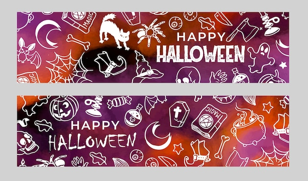 Set of banners halloween doodles in watercolor