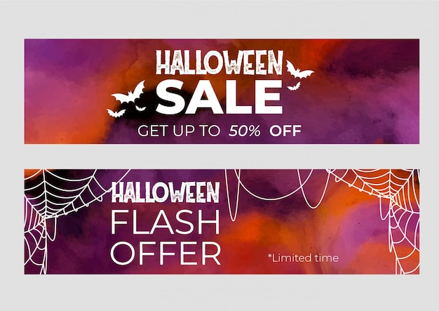 Set of banners halloween sale in watercolor