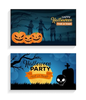 Set banners of happy halloween with decoration