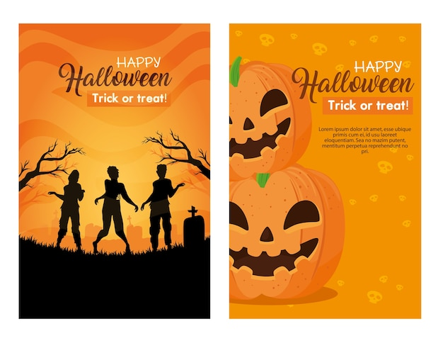 Set banners, happy halloween with decoration
