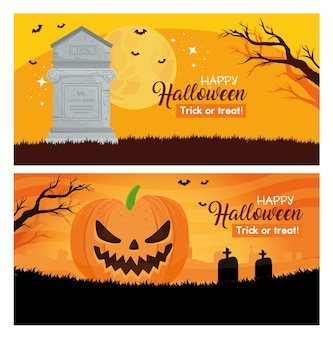 Set of banners happy halloween with decoration