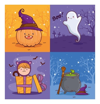Set banners of happy halloween