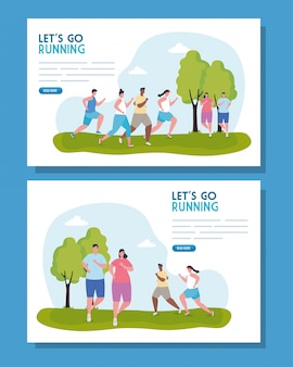 Set of, banners lets go running, group people running outdoor