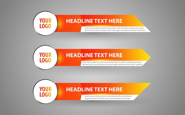 Set banners and lower thirds for news channel with orange and white color