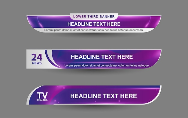 Set banners and lower thirds for news channel with purple and white color