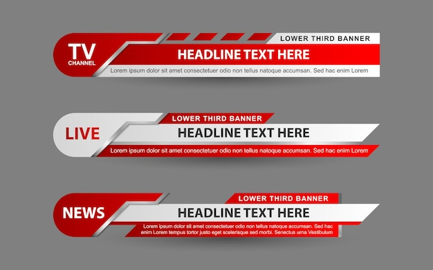 Set banners and lower thirds for news channel with red and white color