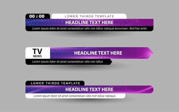 Set banners and lower thirds for news channel with white and purple color