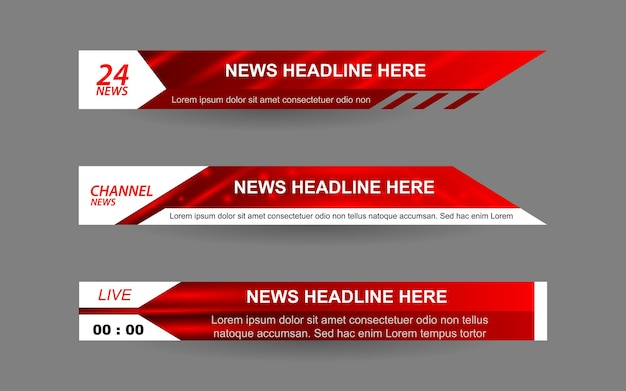 Set banners and lower thirds for news channel with white and red color