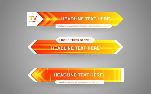 Set banners and lower thirds for news channel with white and yellow color