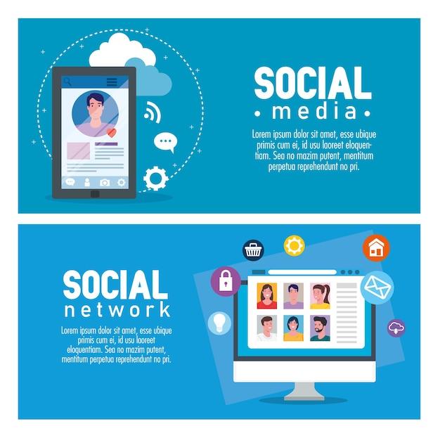 ソーシャルメディアとアイコンのイラストデザインのバナーを設定します