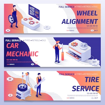 Set of banners for repair and tire fitting service