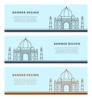 Set of banners template with islamic design