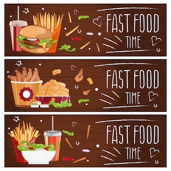 Set of banners for theme fast food with hamburgers, fries, cola and chicken nuggets.