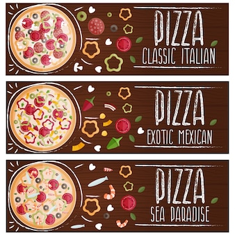 Set of banners for theme pizza with different tastes flat.