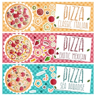 Set of banners for theme pizza with different tastes