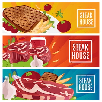 Set of banners for theme steak house with steak, fries, wine.