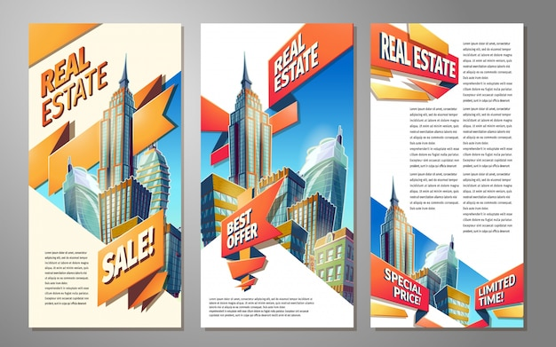 Set of banners, urban backgrounds with city landscape