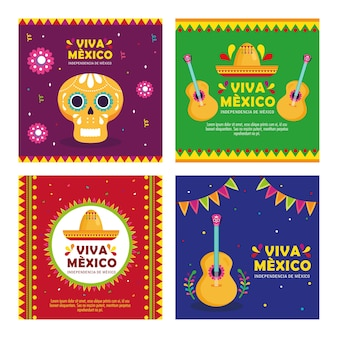 Set banners, viva mexico, happy independence day, 16 of september with decoration.