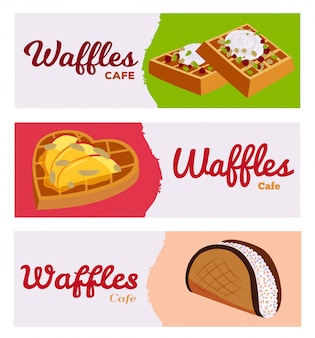 Set of banners waffles cafe bakery  illustration backdrop . different sweet baked tasty filling wafers with fruits, berries and cream.