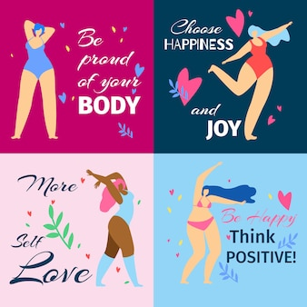 Set of banners with body positive dancing girls