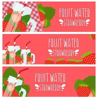 Set of banners with bright fruit water in mason jar with strawberries . illustration