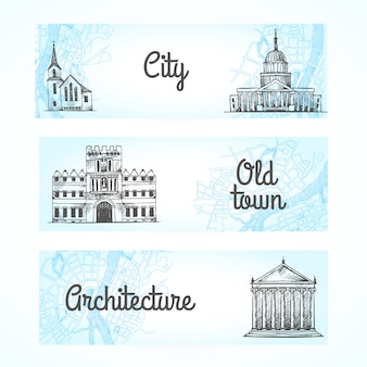 Set of banners with buildings